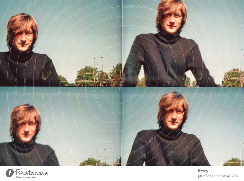 outdoor chill Lomography Youth (Young adults) Tree Roll-necked sweater Sweater Relaxation Sweden Old-school Blue Green Hair and hairstyles Joy Contentment