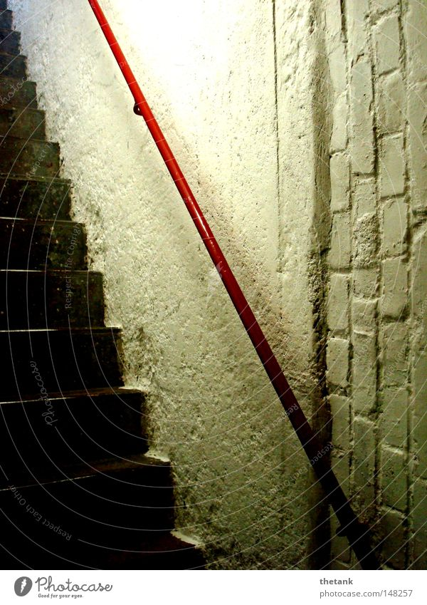 Old Red Above Stairs Under Narrow Upward Hallway Handrail Downward Banister Staircase (Hallway) Cellar Steep Exit route