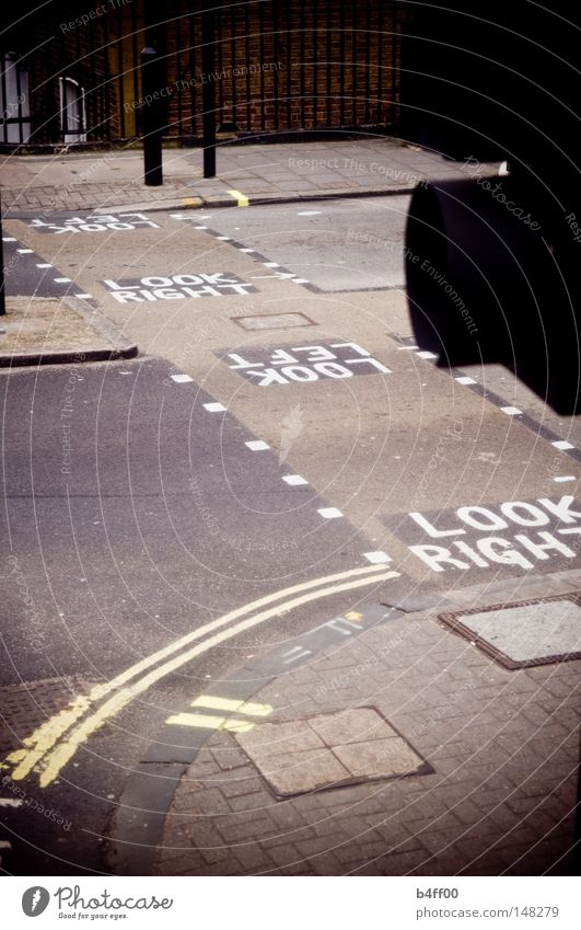 right and left London Pedestrian crossing Going Traffic light Left-hand traffic Dark Vignetting Grief Traffic infrastructure Street Look right look left