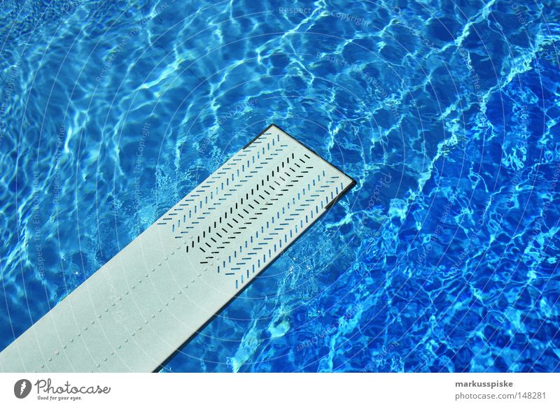 jump in Open-air swimming pool Swimming pool Aquatics Chlorine Jump Springboard Dive Deep Vacation & Travel Sports aquatic sport diving board Reflection