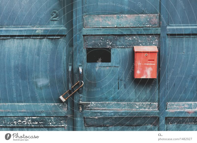 Old Blue Red House (Residential Structure) Living or residing Door Dirty Closed Protection Safety Digits and numbers Factory Gate Entrance Lock Industrial plant