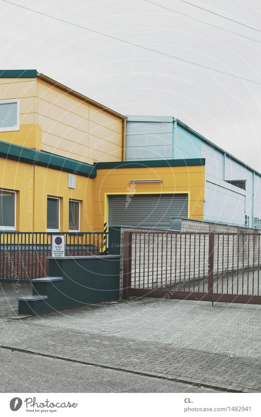 industrial estate Industry Company Sky Bad weather House (Residential Structure) Building Architecture Window Gate Garage Street Gloomy Yellow Gray Stagnating