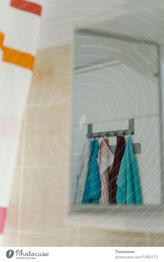 Peeping Timmitom. Mirrored wardrobe Towel Towel hook Shower curtain Reflection Tile Bathroom mirror Observe Blue Orange Turquoise White Colour photo