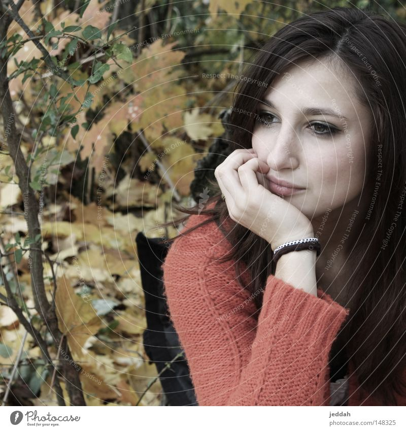 Woman Nature Beautiful Red Face Leaf Yellow Autumn Brown Wait Hope Longing Tree trunk Expectation Human being