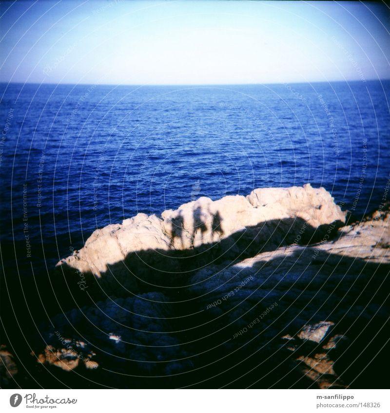 Clubs away, dance now! Shadow Sun Silhouette Human being Dance Hop Joy Wave Posture Neandertal Rock Coast Reef Cliff Stone Beige Blue Sky Ocean Spain Catalonia