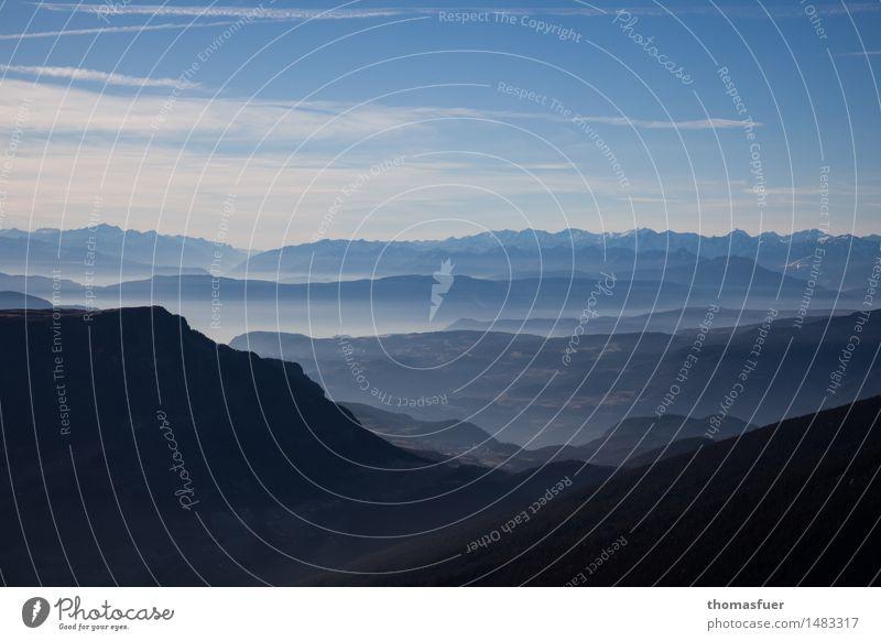 Mountains, panorama, sfumato, Landscape Earth Sky Horizon Sun Beautiful weather Tree Rock Alps Peak Infinity Adventure Freedom Calm Vacation & Travel