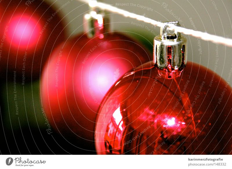 Oh, you cheerful one! Red Christmas & Advent Round Glittering Sphere Decoration Feasts & Celebrations hung Public Holiday December Dull Reflection String