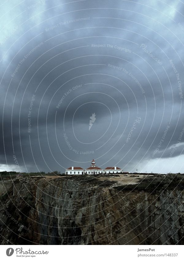 A storm is coming... Lighthouse Cliff Clouds Portugal Gale Rain Coast Thunder and lightning Sky Beach