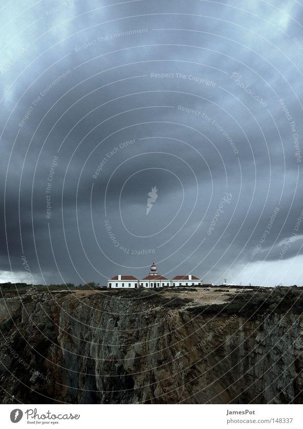 Sky Beach Clouds Rain Coast Gale Thunder and lightning Lighthouse Portugal Cliff