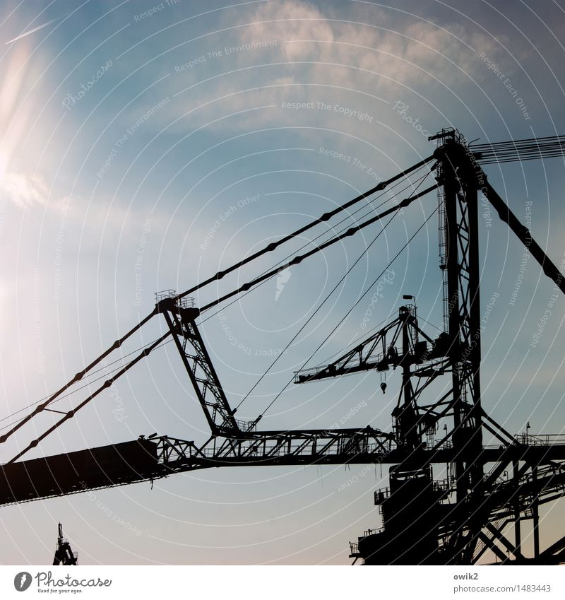 colossus Technology Industry Soft coal mining Mining Excavator Sky Clouds Beautiful weather Industrial district Manmade structures Stand Firm Gigantic Large