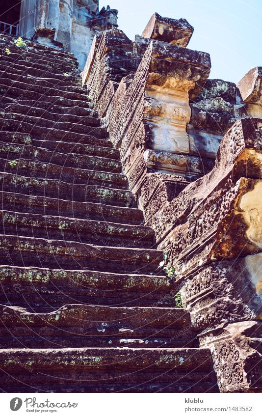 Angkor Wat Temple, Siem reap, Cambodia Sky Vacation & Travel Old Face Architecture Religion and faith Building Lake Stone Tourism Church Castle Ruin Ancient