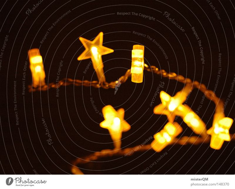 Star chain - Christmas is here to light up. Light Chain Planet Christmas & Advent Holy Evening Winter Dark Pensive Yellow Physics Safety (feeling of)