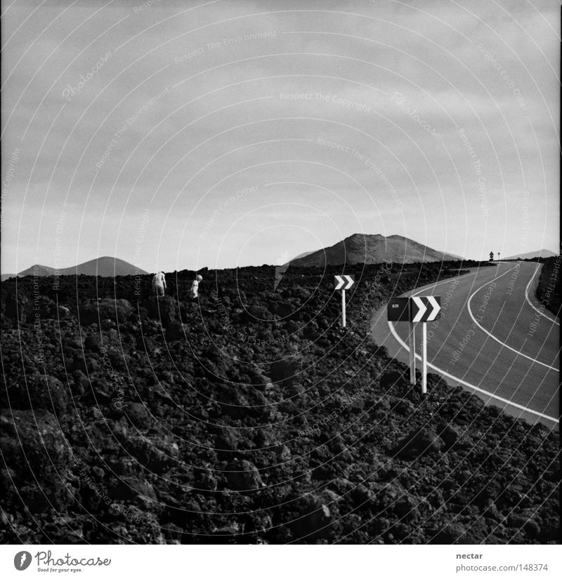 Road To Success In The Desert Of Ignorance Street Work and employment Signs and labeling Arrow Rock Lava Lanzarote Volcano Black Black & white photo White Gray