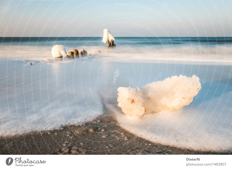 floe Nature Landscape Sand Water Sky Cloudless sky Horizon Winter Weather Beautiful weather Wind Ice Frost Coast Beach Baltic Sea Ocean Blue Brown White