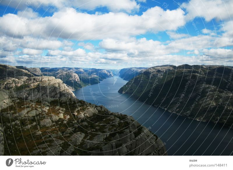 estuary Fjord Lysefjord Ocean Norway Calm Mountain Loneliness Blue Coast Slope Rock Gravel Water Free Freedom Clouds Sky Heap Nature Wonder Peace Preikestolen