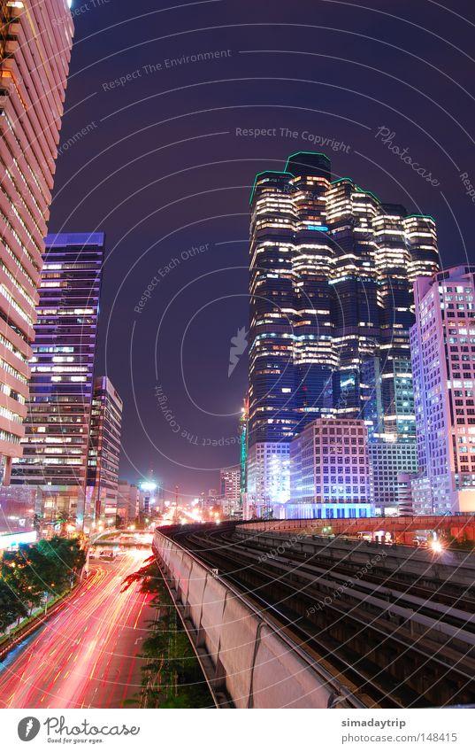 Bangkok Night Night sky Tower Light Light (Natural Phenomenon) Future Railroad Building High-rise lightning effect slow shutter bangkok night slow sync train