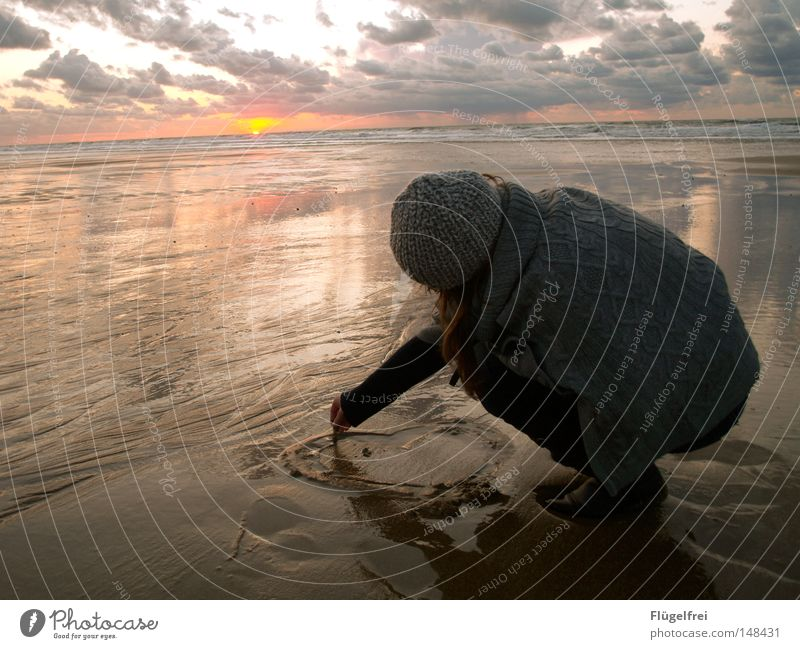 Woman Water Sun Ocean Loneliness Beach Clouds Calm Adults Far-off places Love Cold Autumn Life Emotions Freedom