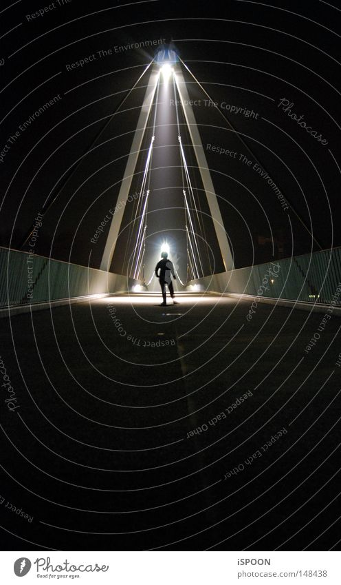 Human being Dark Legs Small Bright Arm Bridge Posture Middle Radiation Concert Bridge railing Symmetry Extraterrestrial being Extraterrestrial Weekend