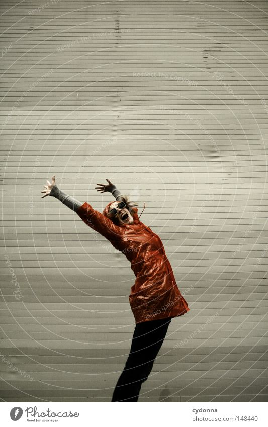 Woman Human being Beautiful Joy Loneliness Life Emotions Jump Playing Style Rain Funny Flying Time Clothing