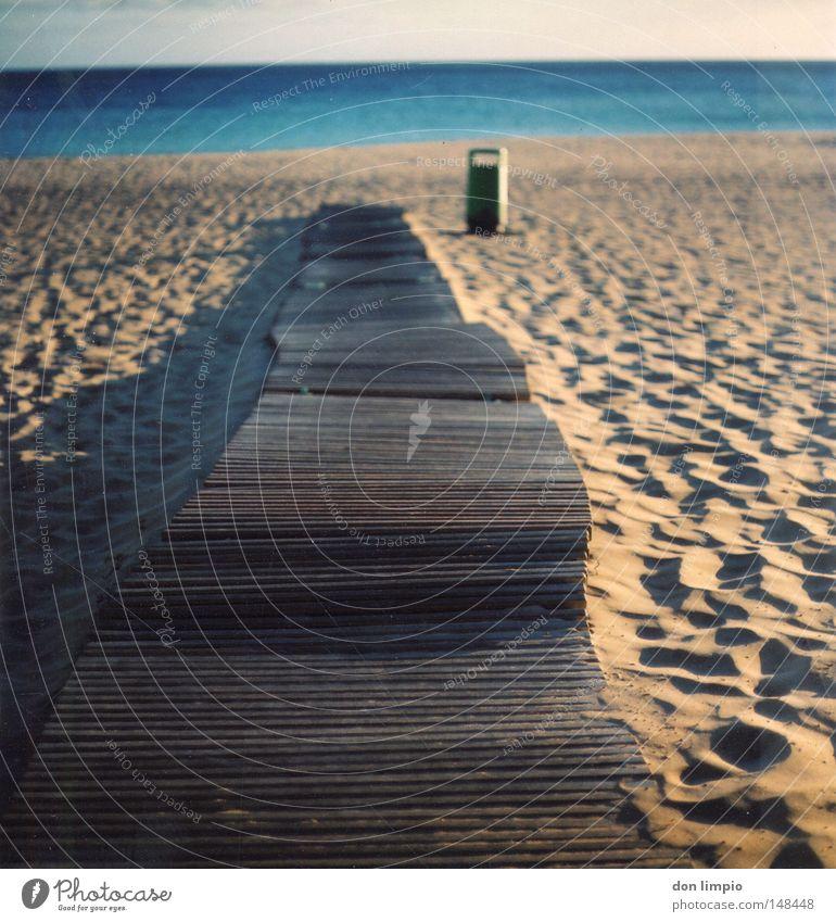 just straight ahead Beach Ocean Sand Shadow Trash container Blue Sidewalk Plank Wood Horizon Empty Footprint Physics Evening Fuerteventura Blur Medium format