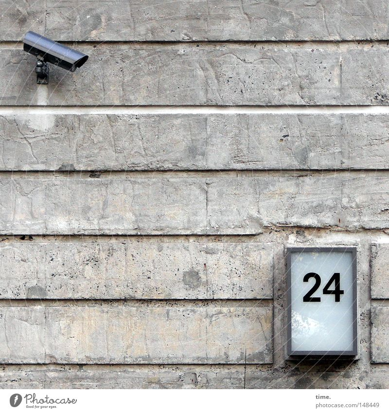 Wall (building) Gray Stone Lighting Metal Fear Glass Concrete Facade Safety Action Technology Digits and numbers Observe Testing & Control Watchfulness