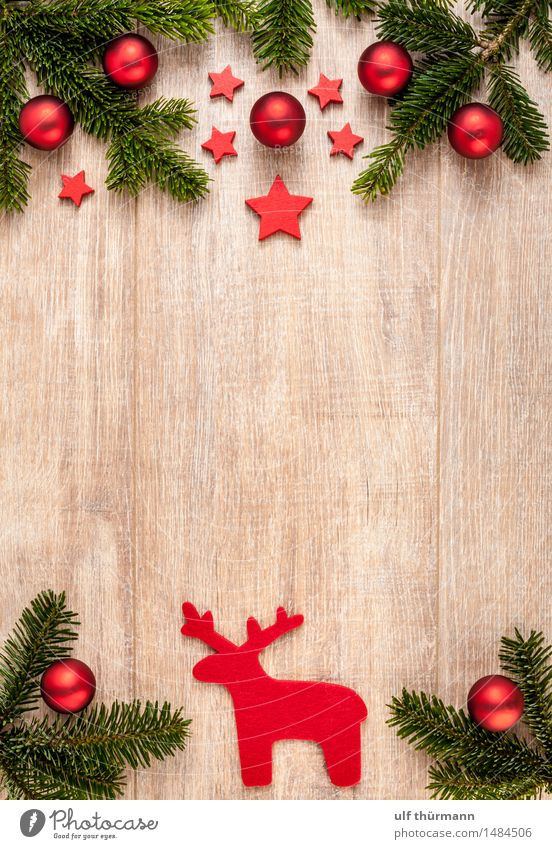 Christmas Background Well-being Relaxation Calm Winter Flat (apartment) Decoration Table Feasts & Celebrations Christmas & Advent Glitter Ball Fir branch Wood