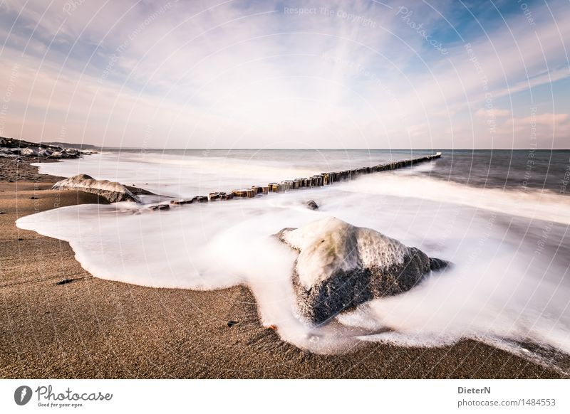 Washed round Nature Landscape Elements Sand Sky Clouds Horizon Winter Ice Frost Rock Waves Coast Beach Baltic Sea Ocean Blue Brown White Break water Stone