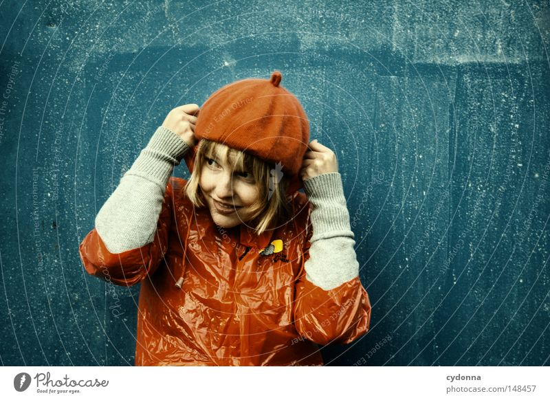 Woman Human being Beautiful Blue Red Joy Loneliness Life Emotions Playing Style Rain Funny Time Clothing
