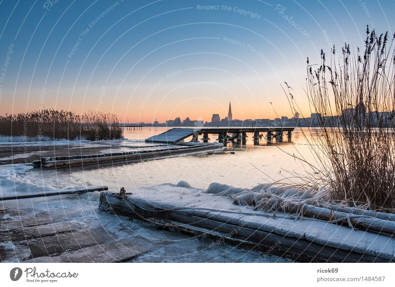 View over the Warnow to Rostock Vacation & Travel Winter House (Residential Structure) Water Weather Ice Frost River Town Building Architecture