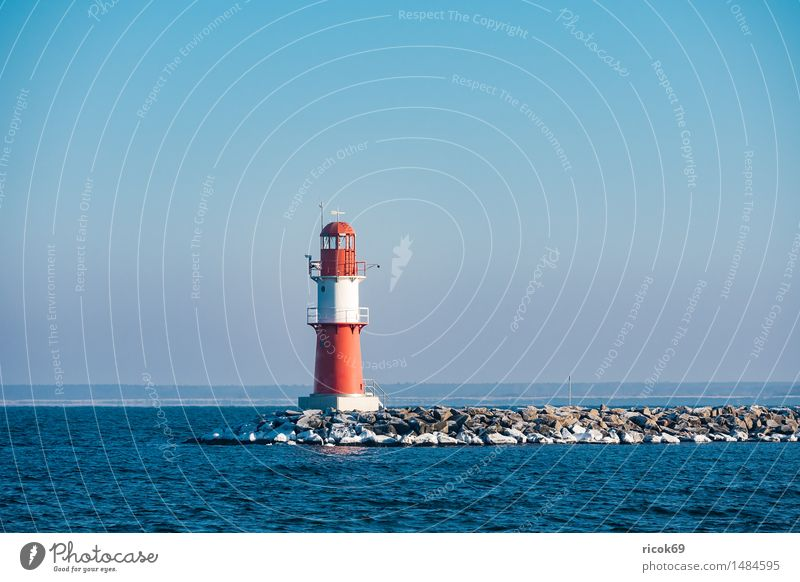 The pier in Warnemünde in winter Relaxation Vacation & Travel Ocean Winter Water Coast Baltic Sea Tower Lighthouse Architecture Tourist Attraction Landmark
