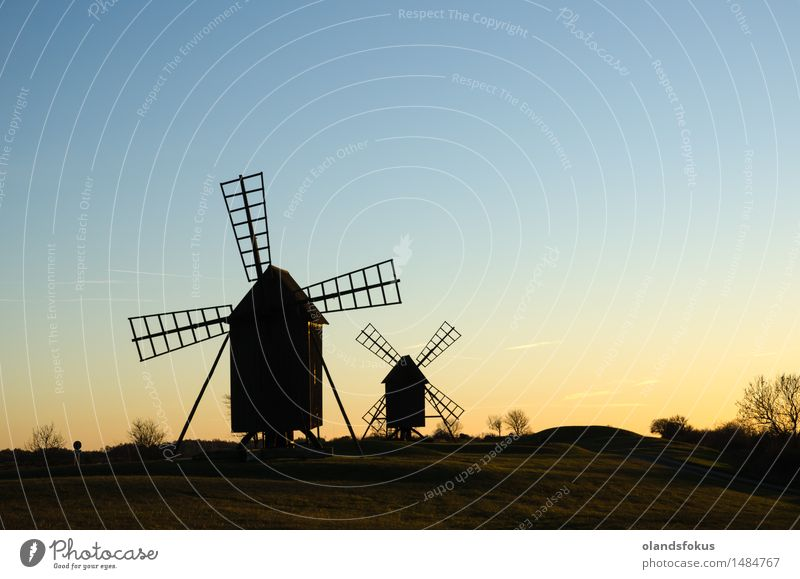 Old traditional windmills Sky Vacation & Travel Landscape Architecture Tourism Technology Europe Historic Tradition European Rural Nordic Sweden Windmill Mill