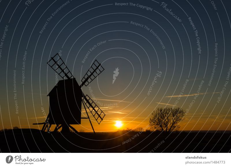 Sunset by an old windmill Vacation & Travel Tourism Technology Landscape Architecture Old Historic Tradition agriculture country Europe European landmark Mill
