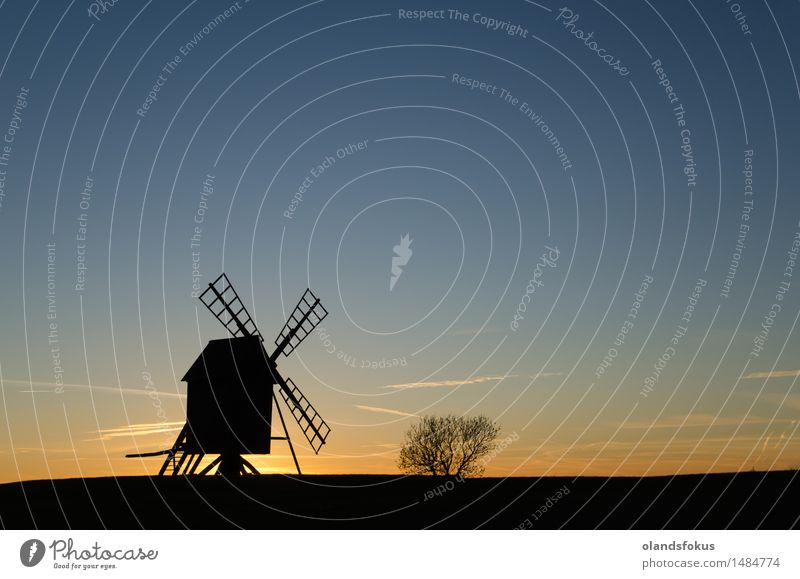 Old windmill silhouette at twilight Sky Vacation & Travel Landscape Architecture Tourism Technology Europe Clean Historic Tradition European Rural Single Nordic