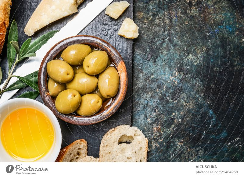 Olives with cheese, oil and ciabatta Food Cheese Vegetable Bread Herbs and spices Cooking oil Nutrition Lunch Buffet Brunch Organic produce Vegetarian diet Diet