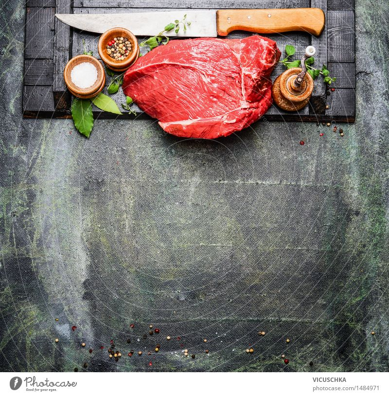 Juicy pieces of meat with spices and butcher's knife Food Meat Herbs and spices Cooking oil Nutrition Lunch Dinner Buffet Brunch Banquet Business lunch