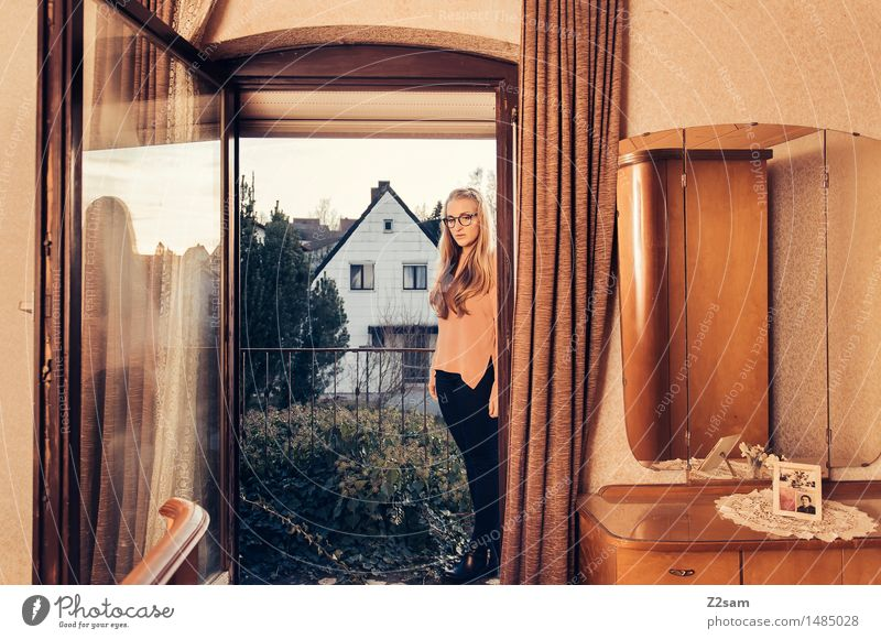 Young woman in retro style apartment Lifestyle Elegant Style Flat (apartment) Feminine Youth (Young adults) 30 - 45 years Adults Village Detached house Fashion