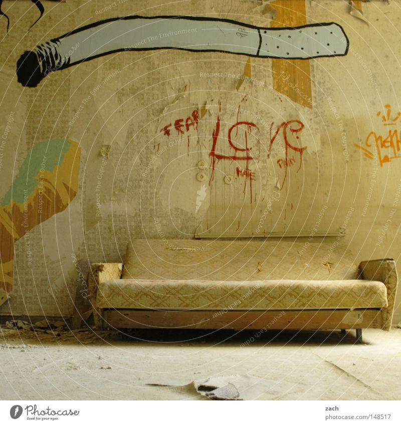 The last smoking room Smoking Tobacco products Smoke Cigar Cigarette Sofa Couch Seating Joint Furniture Old Ancient Empty Rustic Graffiti Second-hand Derelict
