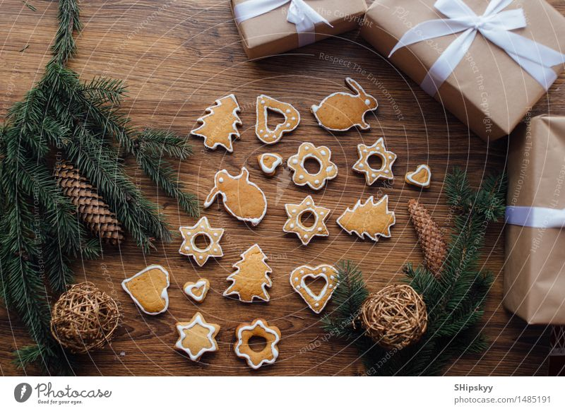 Cookies Lying On The Table With Gifts And Winter Tree A Royalty