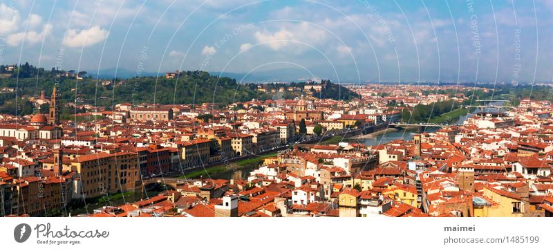 The view of the roofs of Florence and the Arno Tourism Sightseeing City trip Water River Town Old town Bridge Manmade structures Architecture Tourist Attraction