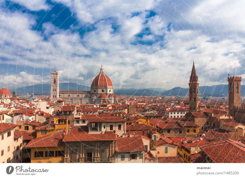 The view of the roofs of Florence with the cathedral Tourism Sightseeing City trip Town Old town Church Dome Manmade structures Building Architecture Roof