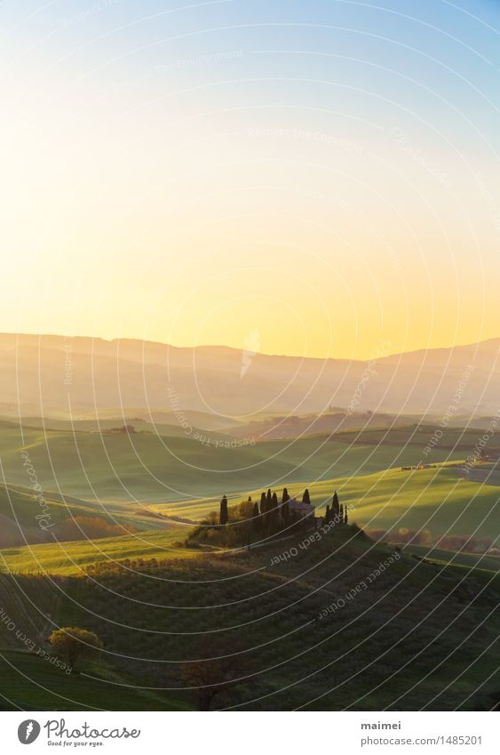 Farmhouse of Tuscany before a sunrise Vacation & Travel Summer vacation House (Residential Structure) Nature Landscape Sky Cloudless sky Horizon Sunrise Sunset