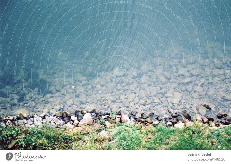 [H08.2] Limmer Brook Stone Bushes Waves Flow River Sewer Coast Escarpment grass verge Water Blue Transparent Nature Idyll Light (Natural Phenomenon) Movement