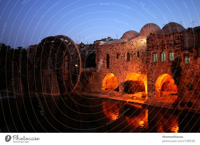 Water wheels in Hama Night sky Syria Ancient Old River Irrigation Historic Asia Brook romantic