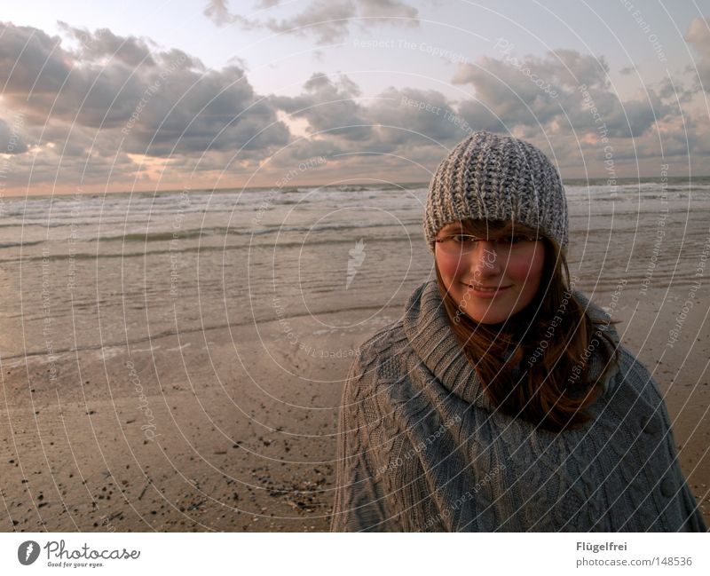 Dog Sky Youth (Young adults) Ocean Joy Beach Clouds Warmth Autumn Feminine Laughter Hair and hairstyles Freedom Happy Sand Lighting