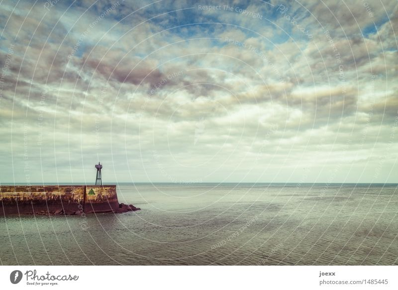 Old but stable Sky Clouds Beautiful weather Coast Lighthouse Navigation Harbour Free Infinity Blue Brown Black Safety Calm Homesickness Wanderlust Target