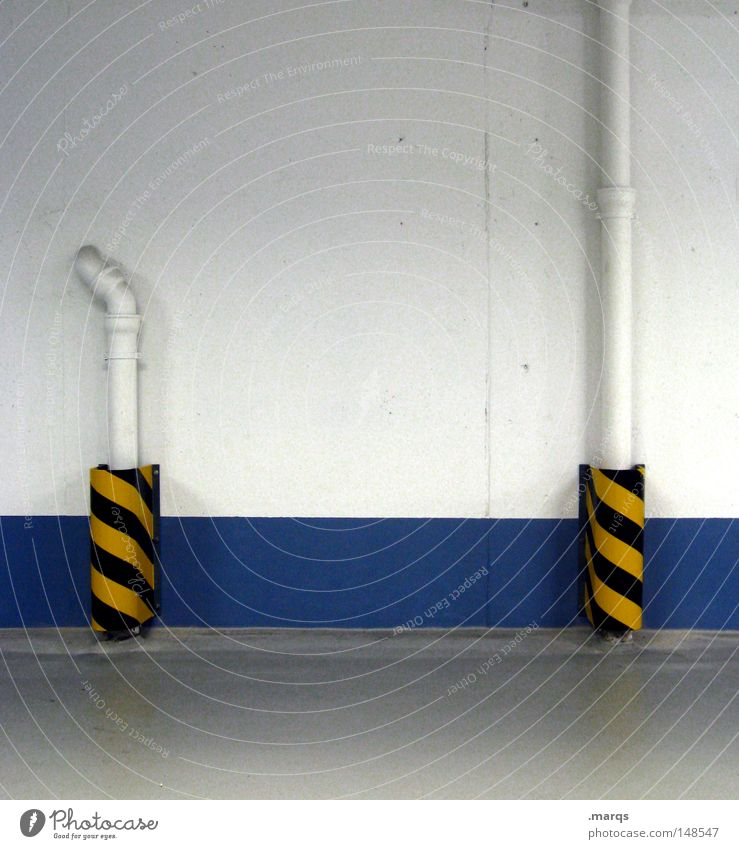 White Blue Black Yellow Wall (building) Wall (barrier) Building Line Architecture Transport Stripe Uniqueness Pipe Traffic infrastructure Parking lot