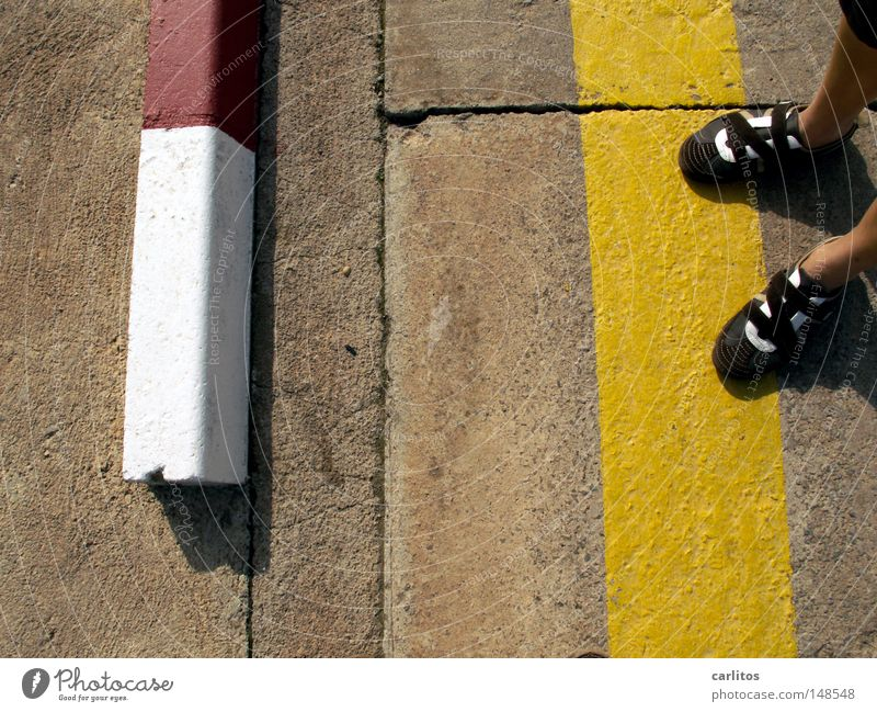 accidentally hit the trigger Traffic lane Concrete Curbside Yellow Clearway Spain Balearic Islands Majorca Detail Boredom Summer Street Reddish white Line Feet