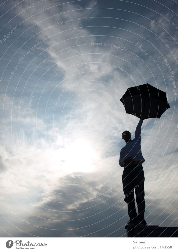 Man Sky Joy Black Clouds Far-off places Autumn Above Freedom Wall (barrier) Rain Wait End Umbrella To hold on Dry