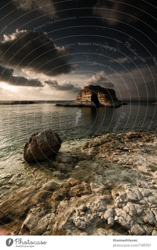 Syria coast Ocean Coast Beach Stone Cave Sky Sunset Summer Asia