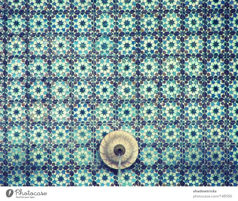 Azuleijo Portugal Well Source Flow Pattern Art Lisbon Sintra Turquoise Culture Hypnotic Grid Water Tile Blue azul River Magic Retro